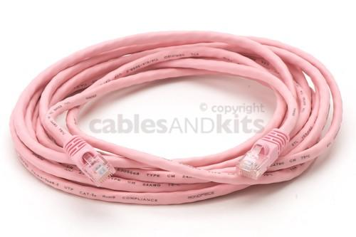 CAT5e Ethernet Patch Cable, Booted, 14ft, Pink