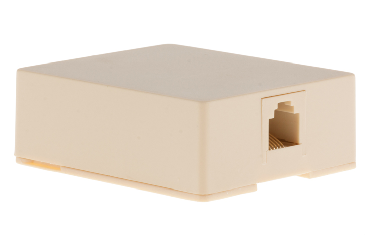 RJ12 Single Port Surface Mount Jack Ivory
