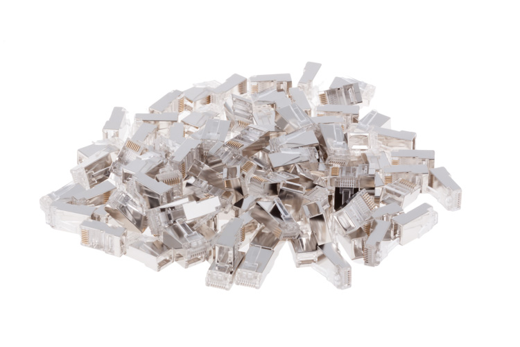 RJ45 Cat5E Modular Plugs/Connectors for STP Solid Wire - Qty 100