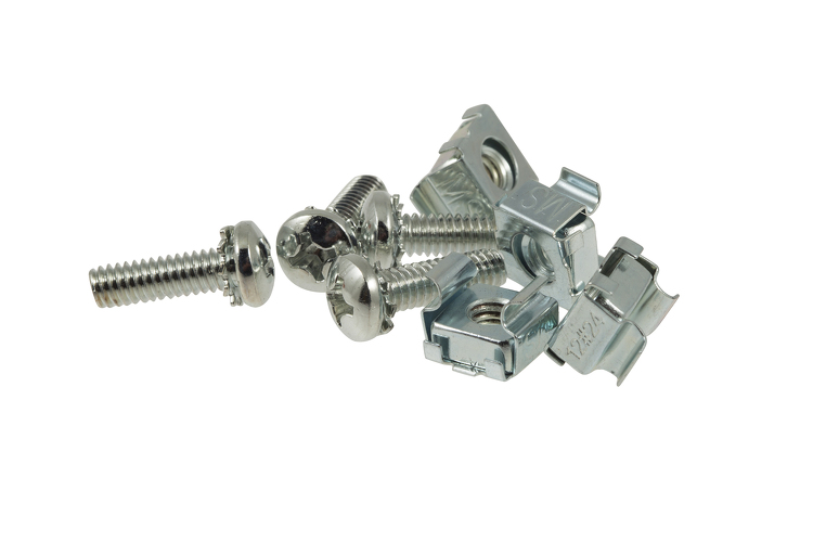 Rack Mount Cage Nuts with Screws, 12-24, Qty 4