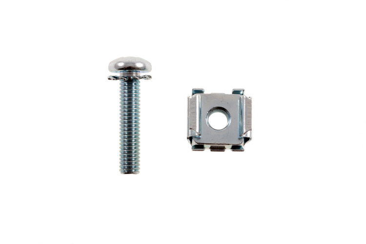 Rack Mount Cage Nuts with Screws, 12-24, Qty 100