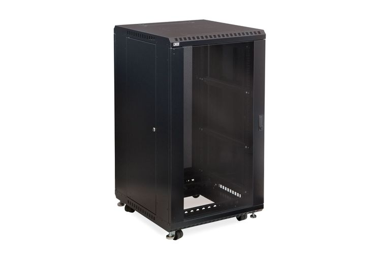 "22U LINIER Server Cabinet - Glass/Solid Doors - 24"" Depth"