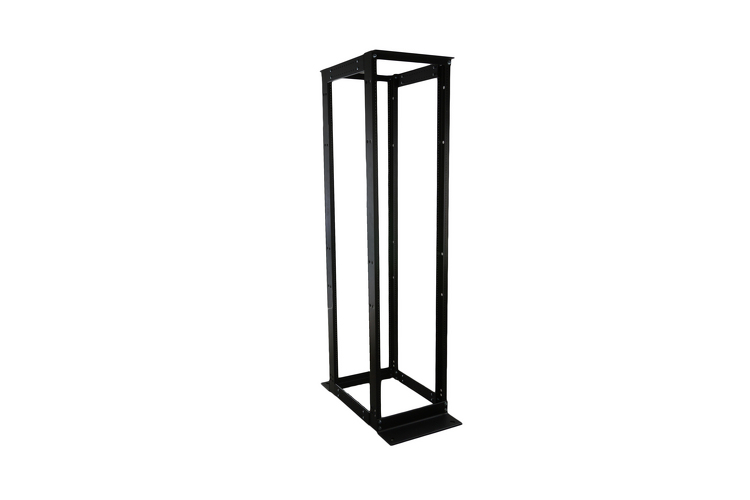 "19"" 4 Post Open Frame Rack, Adjustable Depth, Black"