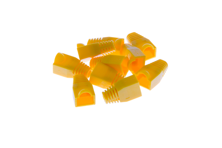 Ethernet Cable Boots - Yellow, Qty 10