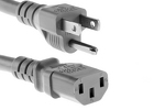 AC Power Cord, 5-15p to C13, 18 AWG, 10ft, Grey