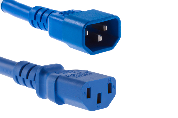 AC Power Cord, C13 to C14, 18 AWG, 10ft, Blue