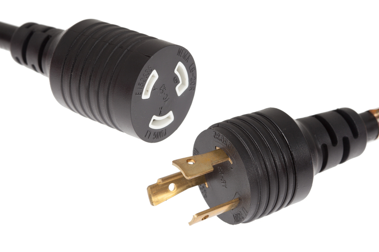 AC Power Cord, L6-20P to L6-20R, 12 AWG, 10ft, Black