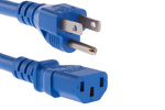 AC power cord, 5-15p to C13, 14 AWG, 2ft, Blue