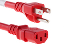 AC power cord, 5-15p to C13, 14 AWG, 4ft, Red