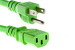 AC power cord, 5-15p to C13, 14 AWG, 10ft, Green