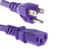 AC Power Cord, 5-15p to C13, 14 AWG, 10ft, Purple