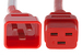 AC power cord, C20 to C19, 12 AWG, 2ft, Red