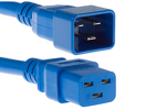 AC power cord, C20 to C19, 12 AWG, 4ft, Blue