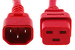 AC power cord, C14 to C19, 14 AWG, 6ft, Red