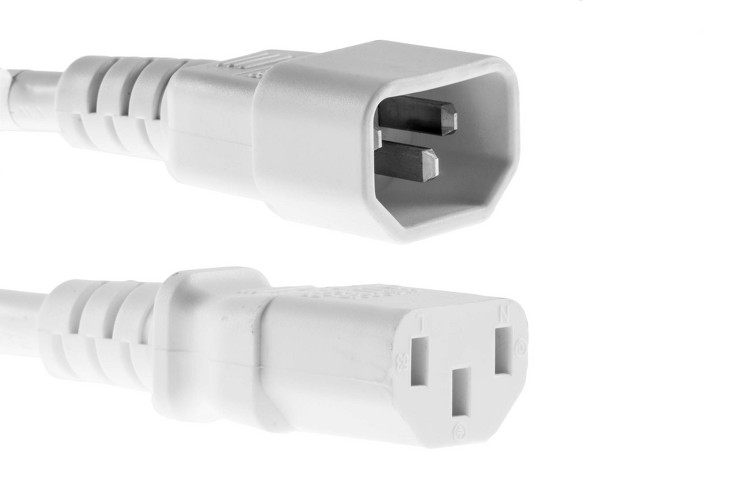 AC Power Cord, C13 to C14, 14 AWG, 2ft, White