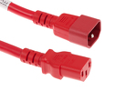 AC Power Cord, C13 to C14, 14 AWG, 3ft, Red