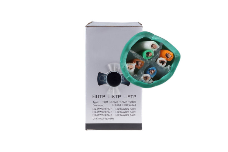 Cat6 Ethernet Cable, 1000' Pull Box, 550MHZ UTP, Green