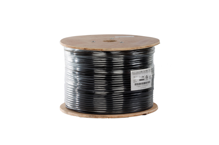 Cat6 Outdoor Direct Burial Cable, 1000' Spool, UTP, Black