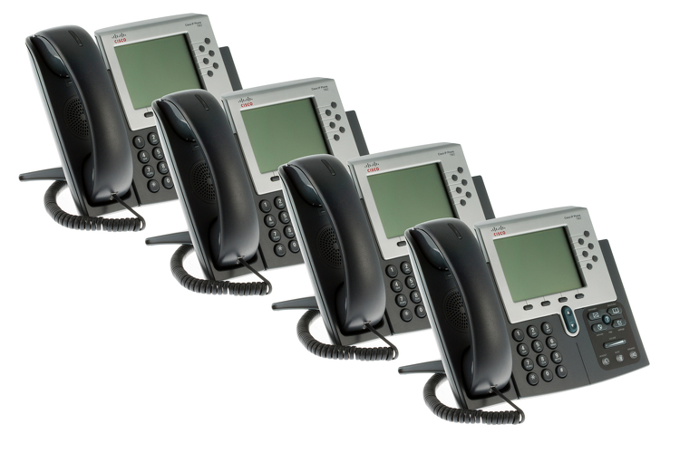 Cisco 7962G Six Line Unified VoIP Phone, CP-7962G, Four Pack