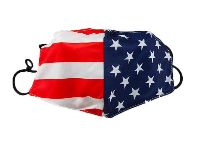 Adult Protective Face Mask, American Flag Design, 100% Cotton