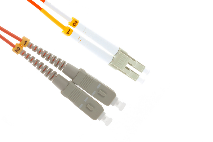 LC to SC Multimode Duplex 62.5/125 Fiber Patch Cable, 35 Meters