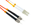 LC to ST Multimode Duplex 62.5/125 Fiber Patch Cable, 25 Meters