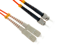 SC to ST Multimode Duplex 62.5/125 Fiber Patch Cable, 15 Meters