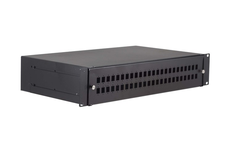 48 Port Fiber Enclosure with Splice Tray, Fixed Front Panel