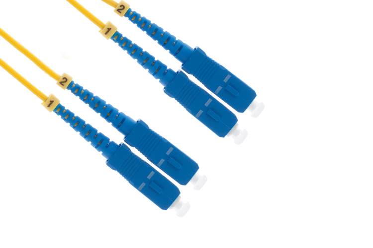 SC to SC Singlemode Duplex 9/125 Fiber Patch Cable, 3 Meters