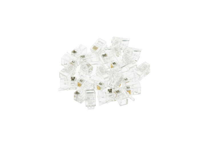 Modular Handset Plugs / Connectors, 4P4C, Qty 25