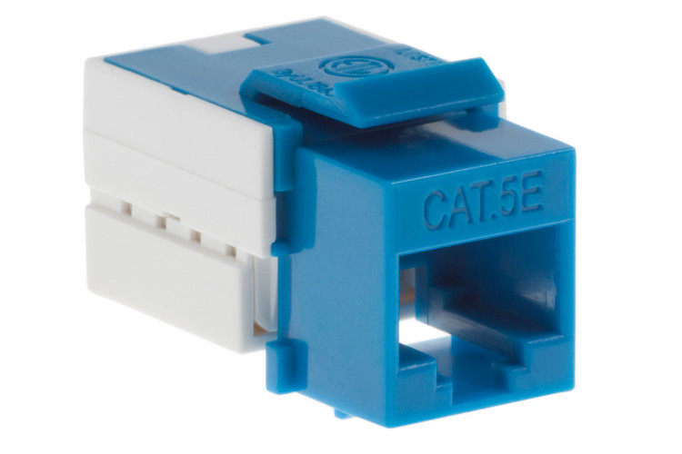 Cat5e RJ45 110 Type Keystone Jack, Blue, 25 Pack