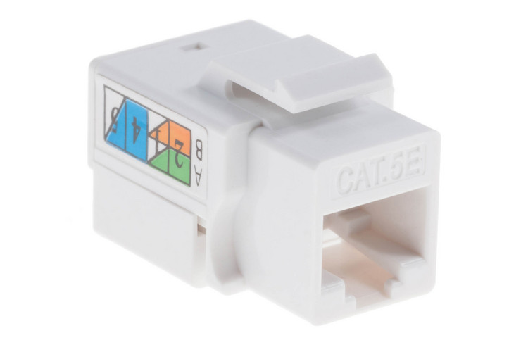 Cat5e RJ45 110 Type Keystone Jack, White, 25 Pack