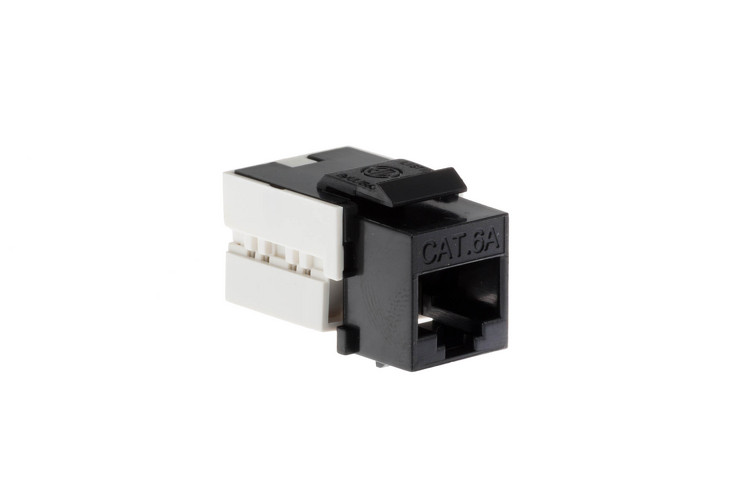 Cat6A RJ45 110 Type Keystone Jack, Black