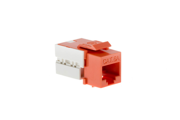 Cat6A RJ45 110 Type Keystone Jack, Orange, 100 Pack