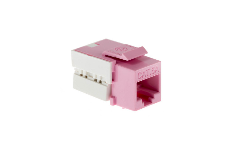 Cat6A RJ45 110 Type Keystone Jack, Pink, 100 Pack