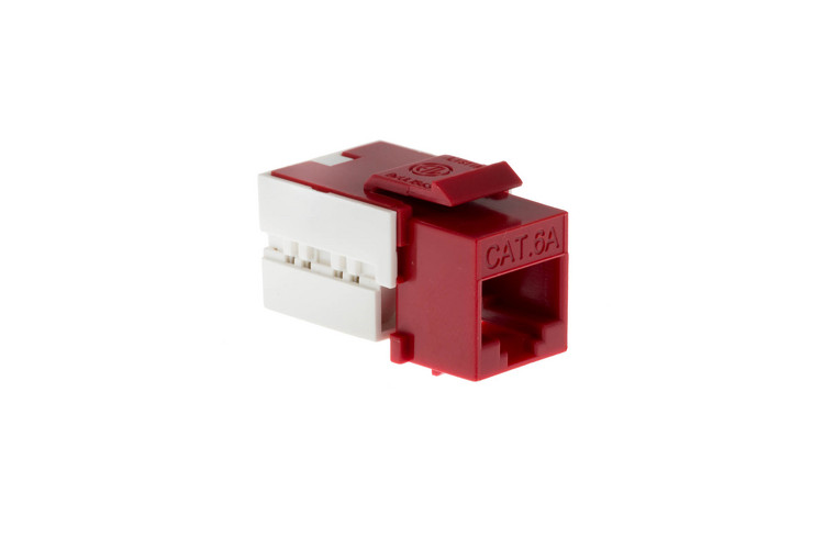 Cat6A RJ45 110 Type Keystone Jack, Red
