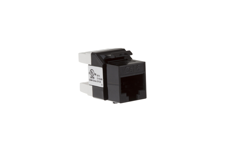 Cat6 RJ45 110 Type 180 Degree Keystone Jack, Black