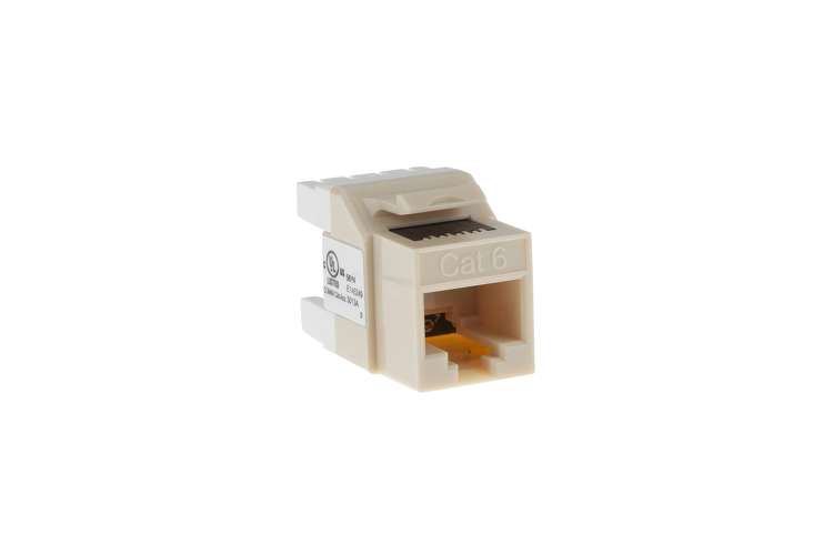 Cat6 RJ45 110 Type 180 Degree Keystone Jack, Ivory