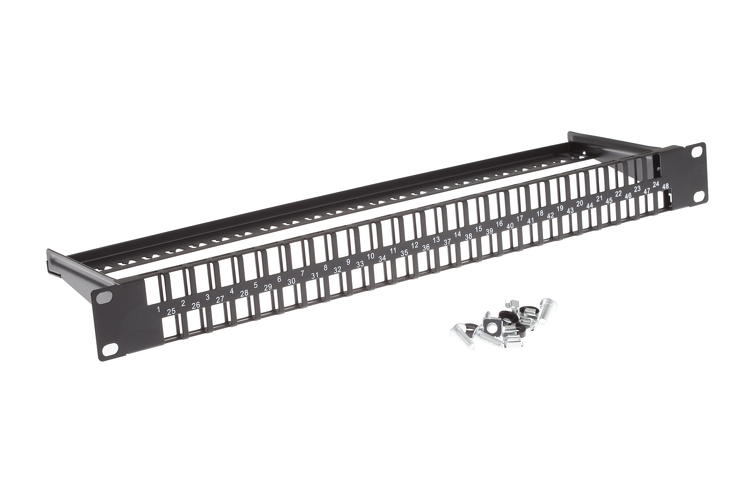 48 Port 1RU Rack Mount Keystone Panel