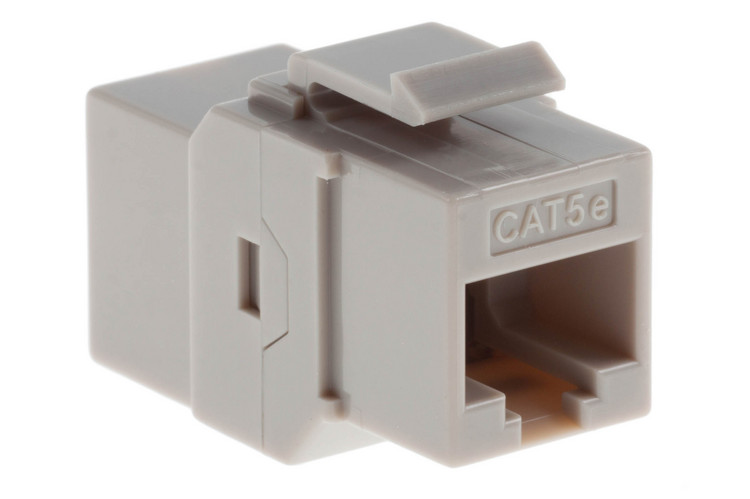 Cat5e RJ45 Inline Coupler Type Keystone Jack, Gray, 100 Pack
