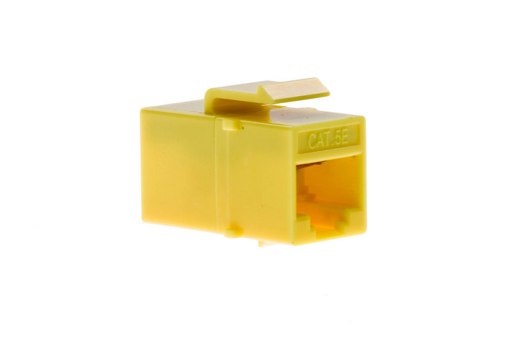 Cat5e RJ45 Inline Coupler Type Keystone Jack, Yellow