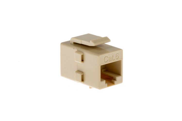 Cat6 RJ45 Inline Coupler Type Keystone Jack, Ivory
