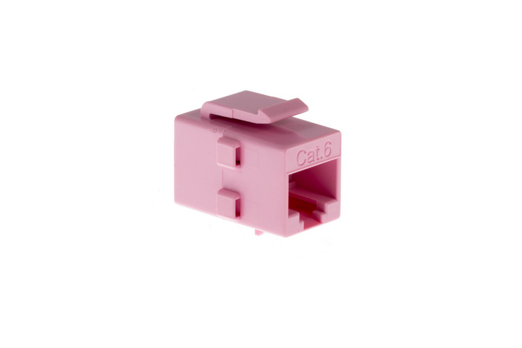 Cat6 RJ45 Inline Coupler Type Keystone Jack, Pink