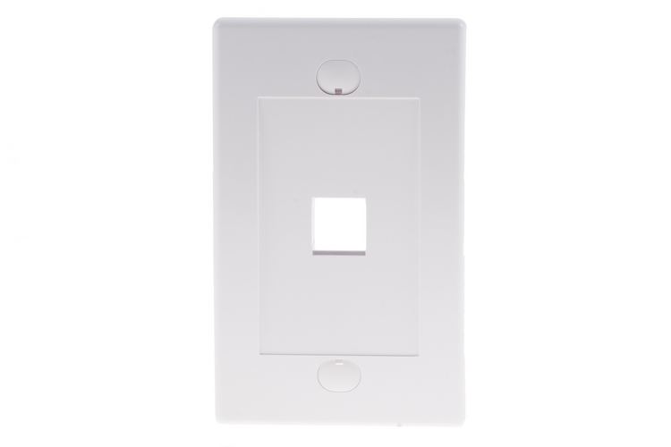 Decorative Keystone Wall Plate, 1 Port, White
