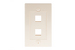 Decorative Keystone Wall Plate, 2 Port, Beige / Ivory