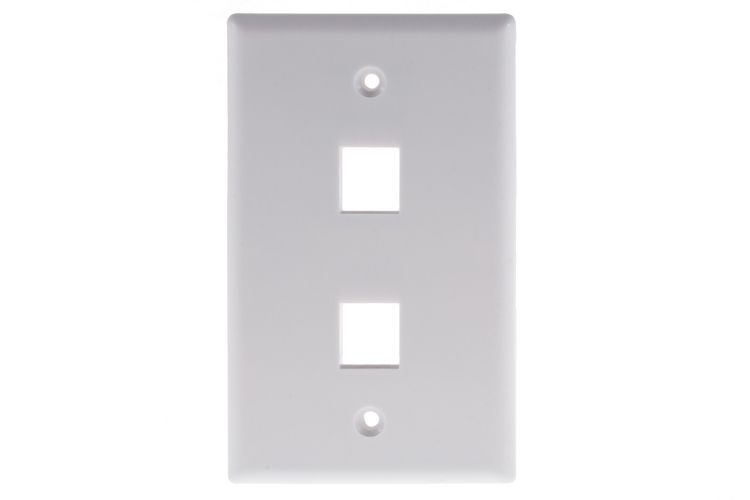 Keystone Wall Plate, 2 Port, White