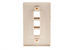 Decorative Keystone Wall Plate, 3 Port, Beige / Ivory