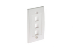 Decorative Keystone Wall Plate, 3 Port, White