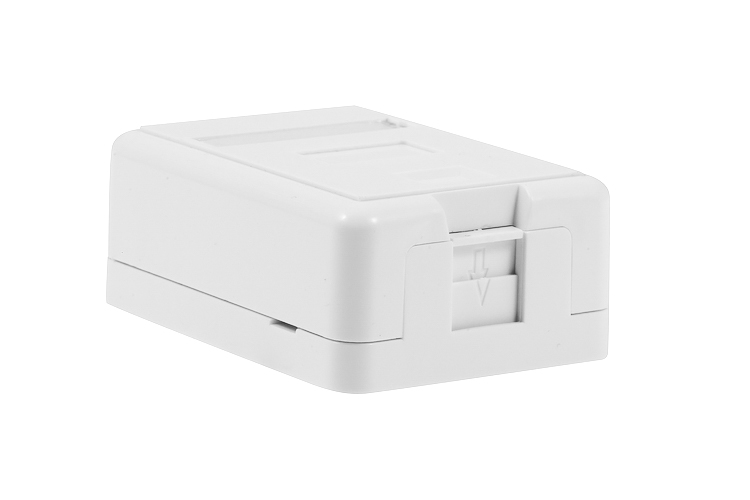 Keystone Surface Mount Box, White, Spring Shutter, 1 Port