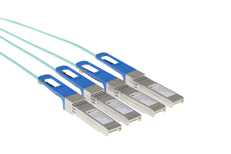Cisco Compatible 40GBASE QSFP Active Optical Breakout Cable, 15 Meters, QSFP-4X10G-AOC15M